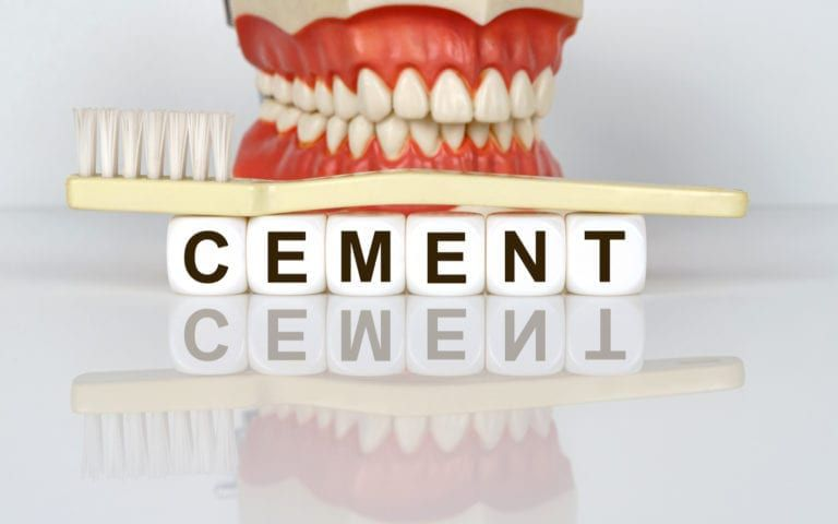 Teeth with brush and cement