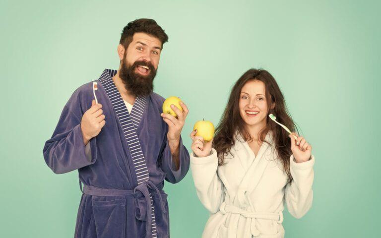 Happy Couple Brushing