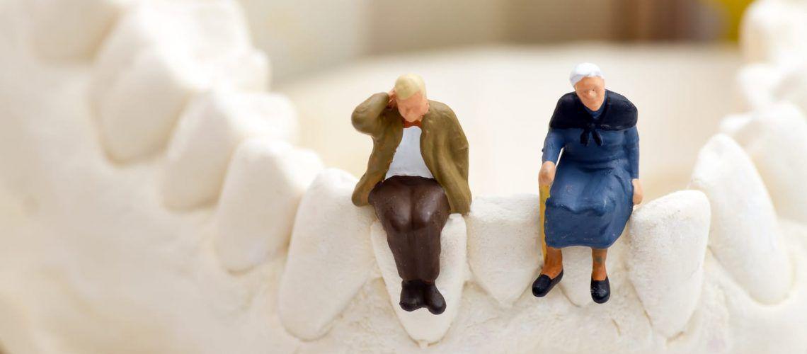 Elderly couple sitting on a jaw bone