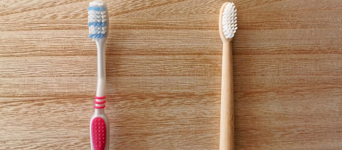 Plastic and Wooden Toothbrush